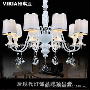 新款水晶陶瓷柱布罩水晶吊燈后現代風格客廳餐廳燈飾
