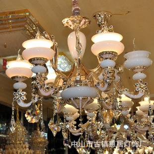 直批玉石水晶灯欧式蜡烛水晶吊灯