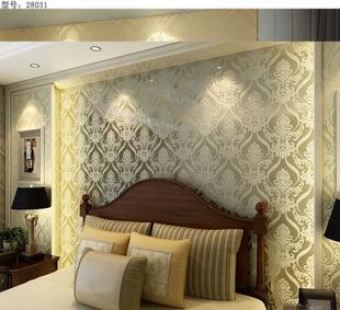 高档欧式金色大马士革客厅电视背景壁纸3d加厚植绒影视墙墙纸批发