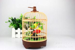 玩具工艺摆饰 树脂声控鸟  622双鸟声控 带精致鸟笼