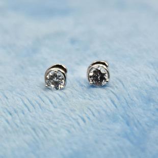 吉祥星批发925纯银锆石耳钉  韩版 欧美饰品 外贸出口 镶钻耳钉
