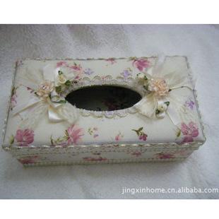 粉色汽车用品抽纸巾盒花布纸巾盒家居车饰用品软装纸巾盒