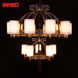 热卖新款万柏中式复古客厅吊灯酒店餐厅灯饰古典卧室