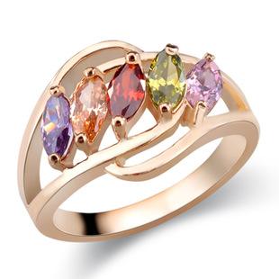 新款镀白金锆石戒指 奢华微镶锆石戒指 欧美外贸出口首饰
