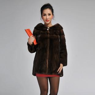 水貂皮草外套新款2014海宁进口整貂皮女中长款貂皮大衣裘皮特价