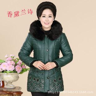 厂家直销冬装中老年女装PU皮棉衣妈妈装棉服女保暖大码棉袄批发