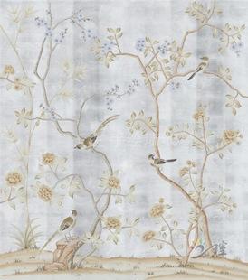 手绘银箔墙纸 高端大型壁画 酒店壁纸 花鸟壁画厂家 王室品牌