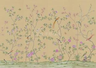 手绘墙纸画 大型装饰画 新中式风格图片