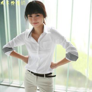 直销韩版格格女装拼接格格衬衣修身显瘦职业女装白色衬衫女士长袖