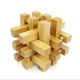 彩色孔明锁6根 云和木制玩具