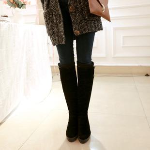 2014秋冬新款时尚金属扣高筒磨砂长靴舒适爆款坡跟纯色女靴批发