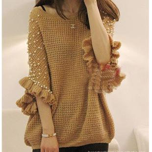 2014秋装新款女装宽松套头蝙蝠衫手工珍珠订珠针织衫毛衣