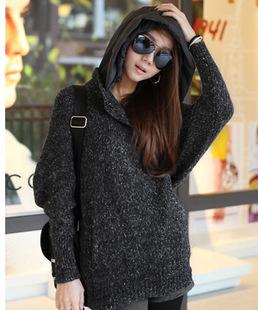 女式毛衣 韩版潮款粗毛线宽松大码帽子针织打底衫毛衣外套