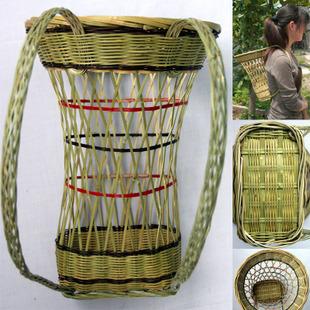 能坐的婴儿背篓/手工编织地区特色工艺品/宝宝幼儿竹背篓背带背篓