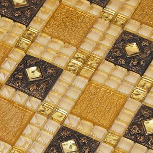 金属铝塑马赛克背胶马赛克拼图背景三角拉丝成都装饰瓷砖厂家直销