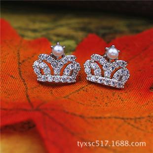 批发2014新品 韩国代购 皇冠珍珠耳钉 时尚精致 锆石微镶耳饰