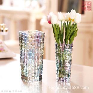 炫彩色玻璃花瓶 透明 欧式时尚水晶花瓶