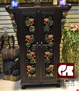 泰国手工雕花家具 三面雕花南瓜柜 东南亚风格装饰柜 玄关柜