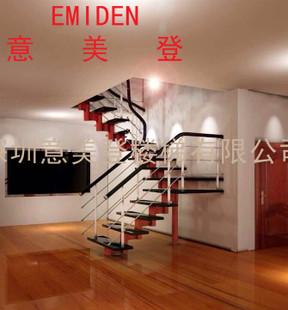 意美利新款欧式风格实木楼梯/别墅客厅楼梯/木扶手定制