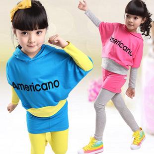 童套装2014秋款新品童装女童中大童蝙蝠衫套装韩版宝宝 一件代发