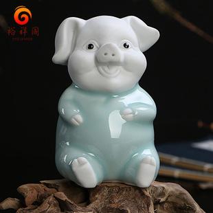 趣玩陶瓷工艺摆件 创意五福猪陶瓷小摆件