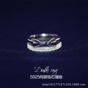 925纯银食指戒指 韩国锆石戒指 箭头戒指 夸张女戒指 厂家直销价