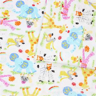 韩国卡通蜡笔画小象纯棉斜纹布料床单四件套沙发窗帘动物印花面料图片