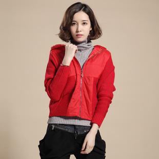 2015新款蝙蝠衫毛衣女式帽款蝙蝠针织衫爆款韩版毛衣开衫