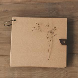 牛皮纸方形素描本 绘画涂鸦本 铜圈皮扣 精装硬纸板封面diy本子