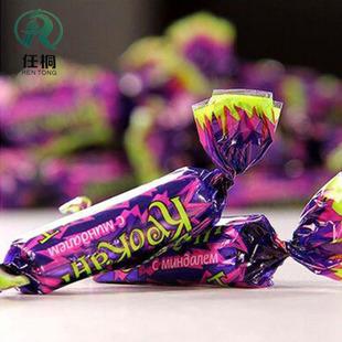 俄罗斯进口250g紫皮糖原味巧克力 杏仁夹心糖果巧克力