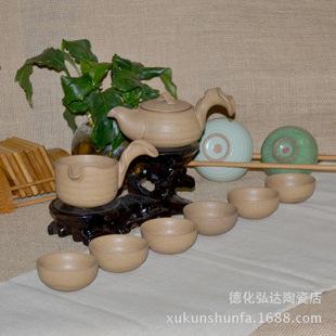 台湾悦窑茶具 汉陶茶具 窑变茶具 8头功夫茶具 粗陶茶具亚光茶具