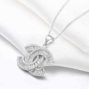 925纯银饰品 小香双C项链爆闪T方锆石锁骨链 经典热卖 礼物