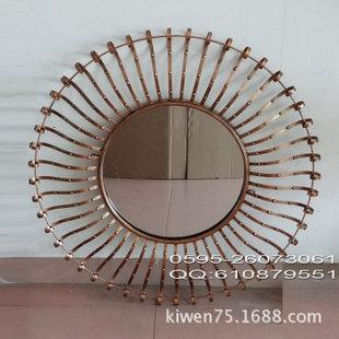 欧式古典铁艺壁挂圆形浴室镜子