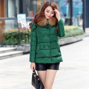 实拍2015秋冬新款韩版女式清仓棉衣短款修身双排扣连帽棉服女外套