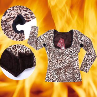 批发女士豹纹长袖提胸塑身保暖内衣加厚加绒塑身美体保暖打底衫