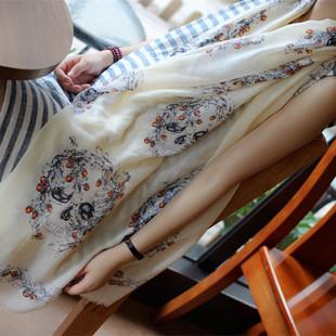 2015韩版防晒丝巾女披肩夏棉麻围巾时尚大牌骷髅头空调披肩 爆款