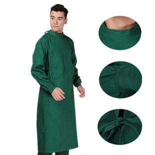 厂家直销 手术衣长袖纯棉墨绿洗手衣 男女医生服手术室消毒手术服