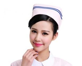 厂家直销 护士帽定做 粉蓝白加杠条涤平护工帽 夏季工作帽批发