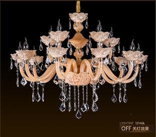 欧式复式楼吊灯奢华客厅玉石k9水晶吊灯锌合金卧室