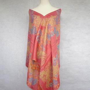 秋冬披肩热卖新款民族风流苏提花两用保暖七彩牡丹披肩批发