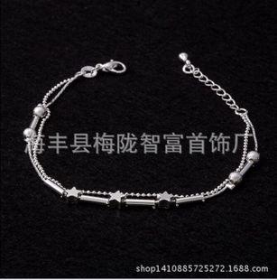 925纯银脚链韩版韩国简约小星星镀银脚链银饰品复古多款式 女款