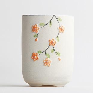 粗陶花盆韩式手工彩绘小清新花盆 陶艺个性花器 厂家直销图片