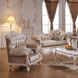 2014新款珍珠粉描银欧式布艺沙发象牙白沙发橡木手工