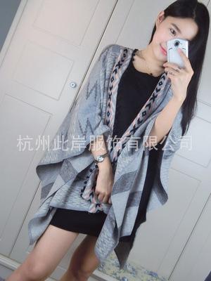 2015秋女装新款腔调十足宽松蝙蝠披肩针织开衫外套中长款女士外套
