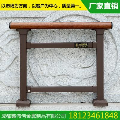 【鑫伟创】厂家定制 咖啡色木纹镀锌管玻璃阳台栏杆 可定制