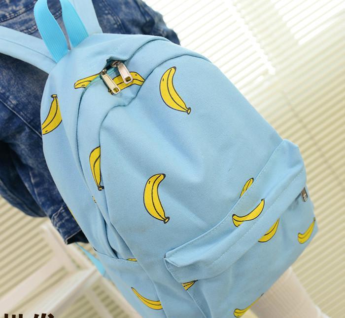 超萌小清新香蕉冰淇淋帆布双肩包女韩版潮学生书包学院风休闲背包
