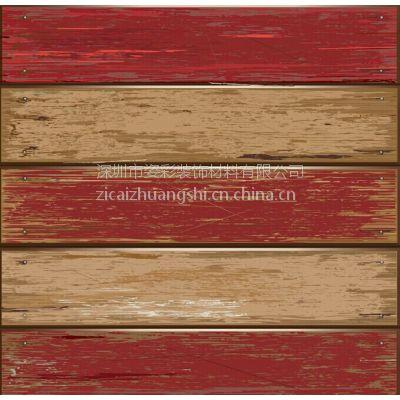 中式仿木板壁纸原木色墙纸木纹仿古壁纸图片