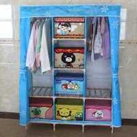 蓝太阳花色布艺小号单人简易衣柜加厚加固组装折叠简易衣柜