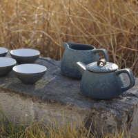 日式茶具整套功夫茶具禅意雅集6人茶具原创粗陶茶具套装