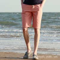 男士休闲短裤夏季薄中裤纯色七分裤沙滩裤夏天五分裤马裤